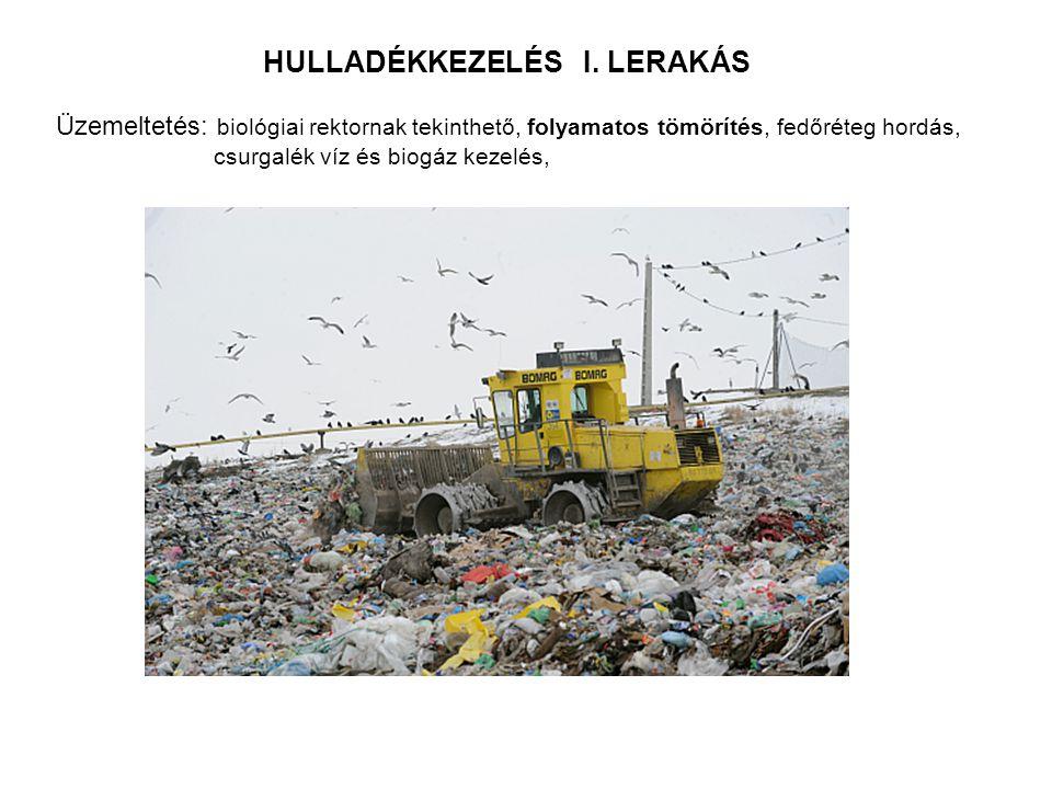 HULLADÉKKEZELÉS I. LERAKÁS Üzemeltetés: biológiai rektornak tekinthető, folyamatos tömörítés, fedőréteg hordás, csurgalék víz és biogáz kezelés,