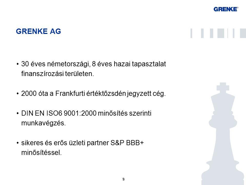 9 9 GRENKE AG 30 éves németországi, 8 éves hazai tapasztalat finanszírozási területen.