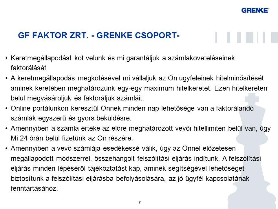 7 7 GF FAKTOR ZRT. - GRENKE CSOPORT- Keretmegállapodást köt velünk és mi garantáljuk a számlaköveteléseinek faktorálását. A keretmegállapodás megkötés
