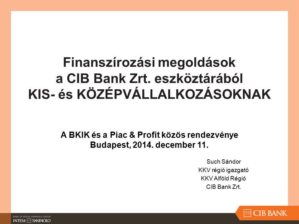 Finanszírozási megoldások a CIB Bank Zrt. eszköztárából KIS- és KÖZÉPVÁLLALKOZÁSOKNAK Such Sándor KKV régió igazgató KKV Alföld Régió CIB Bank Zrt. A