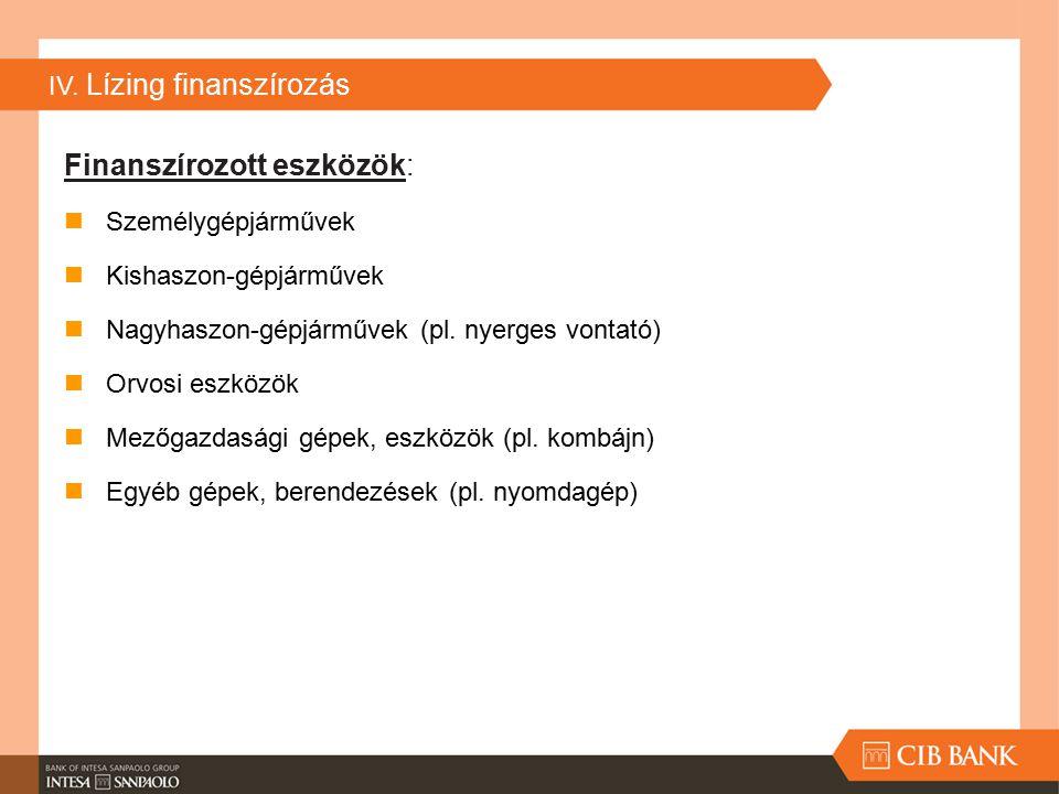 IV. Lízing finanszírozás Finanszírozott eszközök: Személygépjárművek Kishaszon-gépjárművek Nagyhaszon-gépjárművek (pl. nyerges vontató) Orvosi eszközö