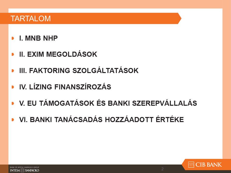 TARTALOM I. MNB NHP II. EXIM MEGOLDÁSOK III. FAKTORING SZOLGÁLTATÁSOK IV. LÍZING FINANSZÍROZÁS V. EU TÁMOGATÁSOK ÉS BANKI SZEREPVÁLLALÁS VI. BANKI TAN