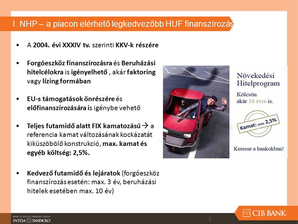 I. NHP – a piacon elérhető legkedvezőbb HUF finanszírozás A 2004. évi XXXIV tv. szerinti KKV-k részére Forgóeszköz finanszírozásra és Beruházási hitel