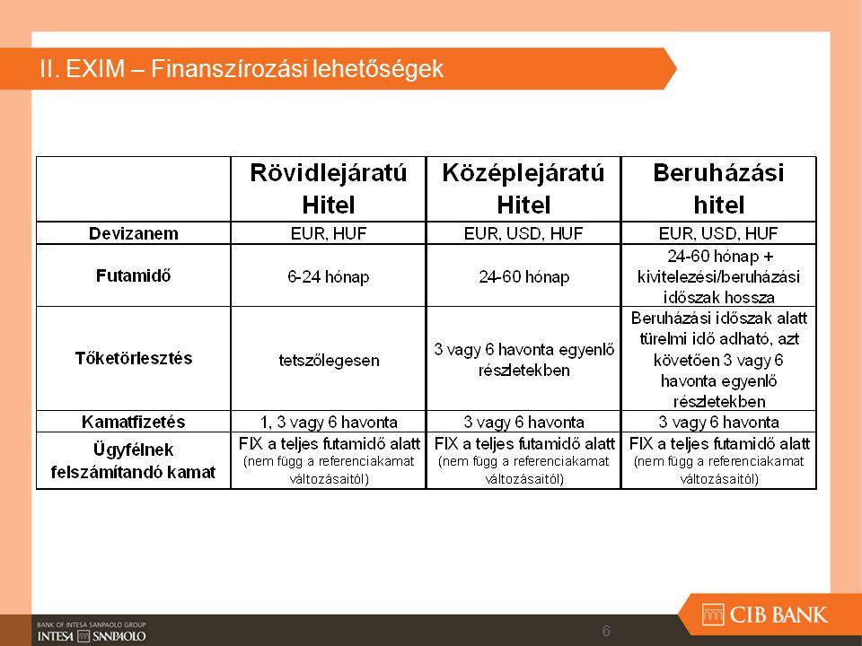 II. EXIM – Finanszírozási lehetőségek 6