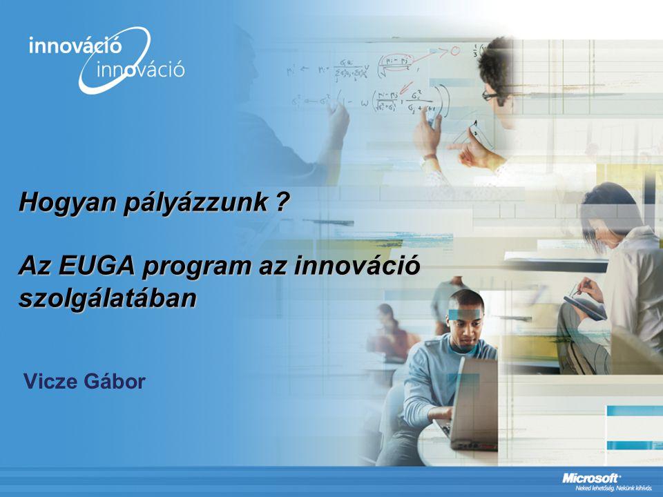 Hogyan pályázzunk Az EUGA program az innováció szolgálatában Vicze Gábor