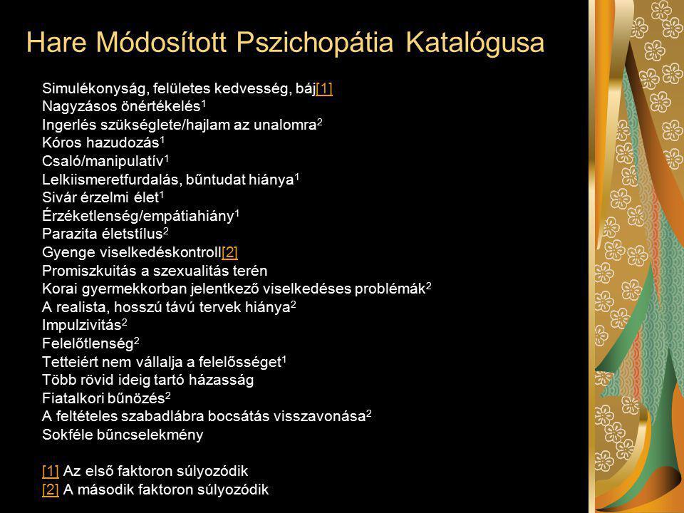 Hare Módosított Pszichopátia Katalógusa Simulékonyság, felületes kedvesség, báj[1][1] Nagyzásos önértékelés 1 Ingerlés szükséglete/hajlam az unalomra 2 Kóros hazudozás 1 Csaló/manipulatív 1 Lelkiismeretfurdalás, bűntudat hiánya 1 Sivár érzelmi élet 1 Érzéketlenség/empátiahiány 1 Parazita életstílus 2 Gyenge viselkedéskontroll[2][2] Promiszkuitás a szexualitás terén Korai gyermekkorban jelentkező viselkedéses problémák 2 A realista, hosszú távú tervek hiánya 2 Impulzivitás 2 Felelőtlenség 2 Tetteiért nem vállalja a felelősséget 1 Több rövid ideig tartó házasság Fiatalkori bűnözés 2 A feltételes szabadlábra bocsátás visszavonása 2 Sokféle bűncselekmény [1][1] Az első faktoron súlyozódik [2][2] A második faktoron súlyozódik
