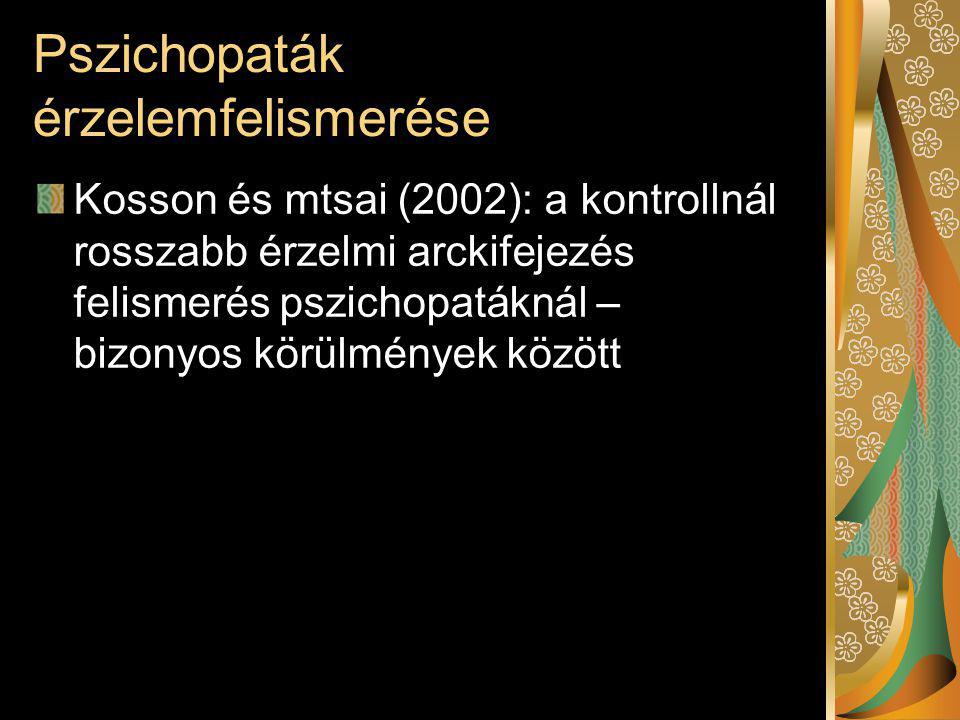 Pszichopaták érzelemfelismerése Kosson és mtsai (2002): a kontrollnál rosszabb érzelmi arckifejezés felismerés pszichopatáknál – bizonyos körülmények