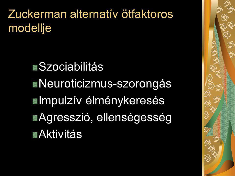 Zuckerman alternatív ötfaktoros modellje Szociabilitás Neuroticizmus-szorongás Impulzív élménykeresés Agresszió, ellenségesség Aktivitás