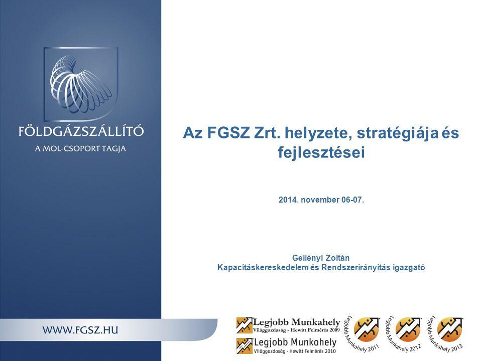 Az FGSZ Zrt.helyzete, stratégiája és fejlesztései 2014.