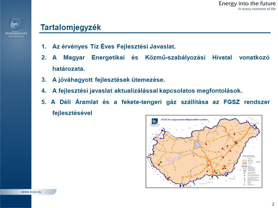 3 Fejlesztések a földgázszállító rendszeren – I.