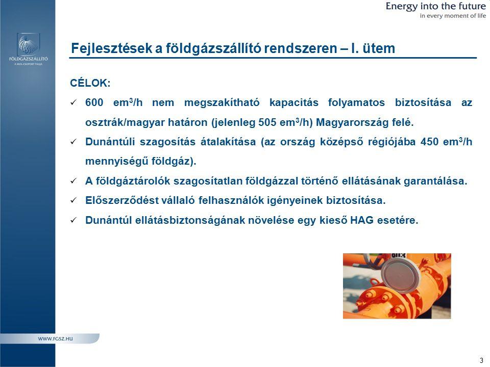 4 A földgázszállító rendszer fejlesztése Dunántúli szagosítás átalakítása Szagosítás átalakítása: - 7 db új központi szagosító - 25 db egyedi szagosító - 3 db központi szagosító bontás