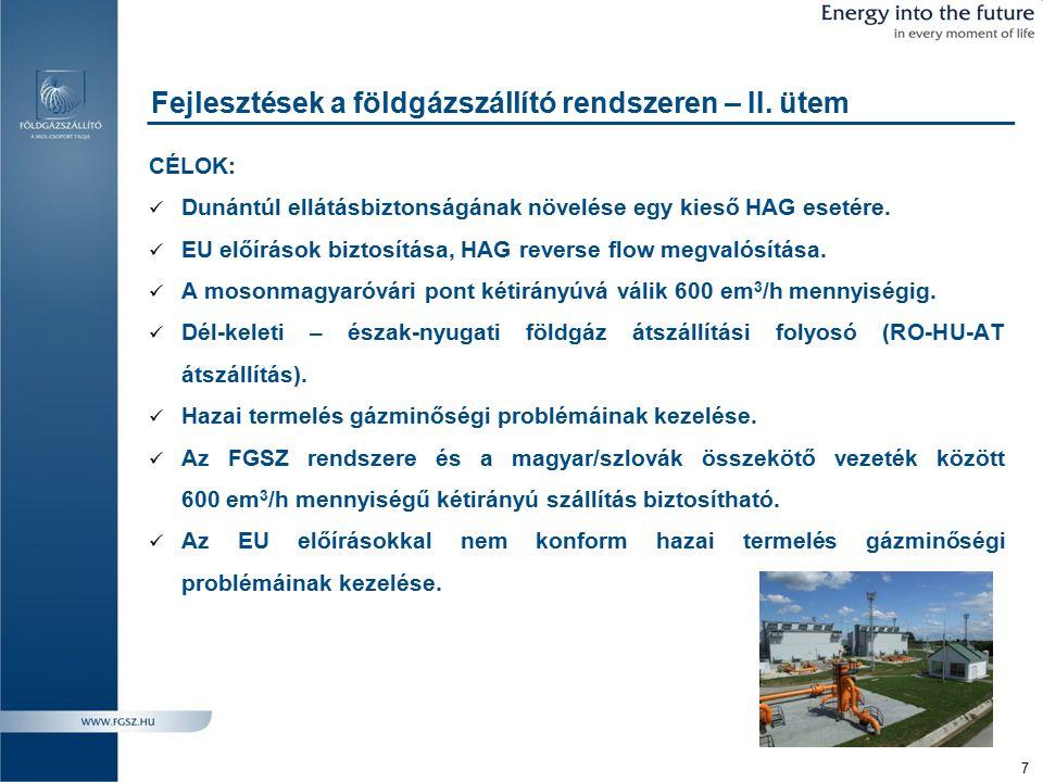 8 A földgázszállító rendszer fejlesztése Városföld-Adony-Ercsi-Győr
