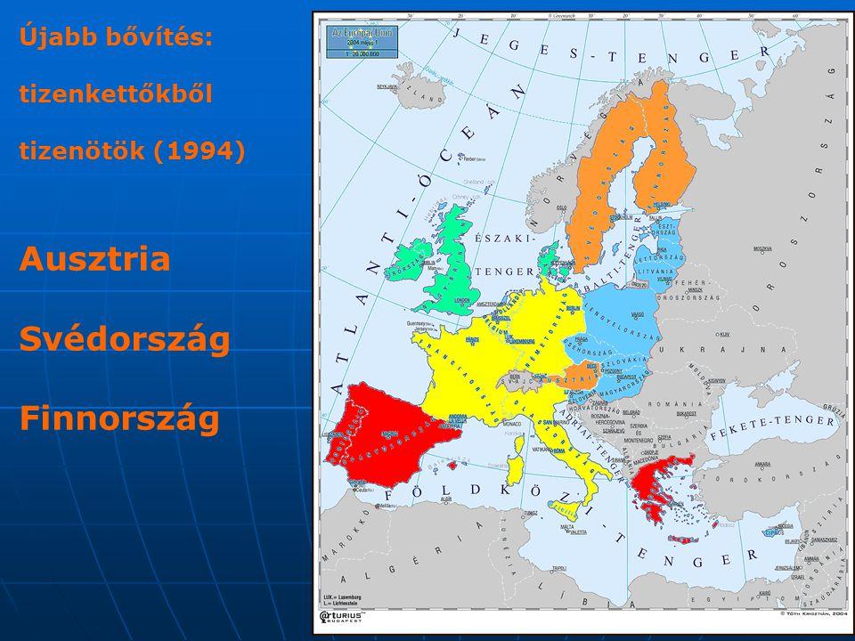 Schengeni Egyezmény (1985) Célja: az ellenőrzések fokozatos felszámolása a tagállamok közötti belső határokon Célja: az ellenőrzések fokozatos felszámolása a tagállamok közötti belső határokon + menedékjog, + rendőri erők határokon átnyúló együttműködése /Magyarország 2008-tól alkalmazza/