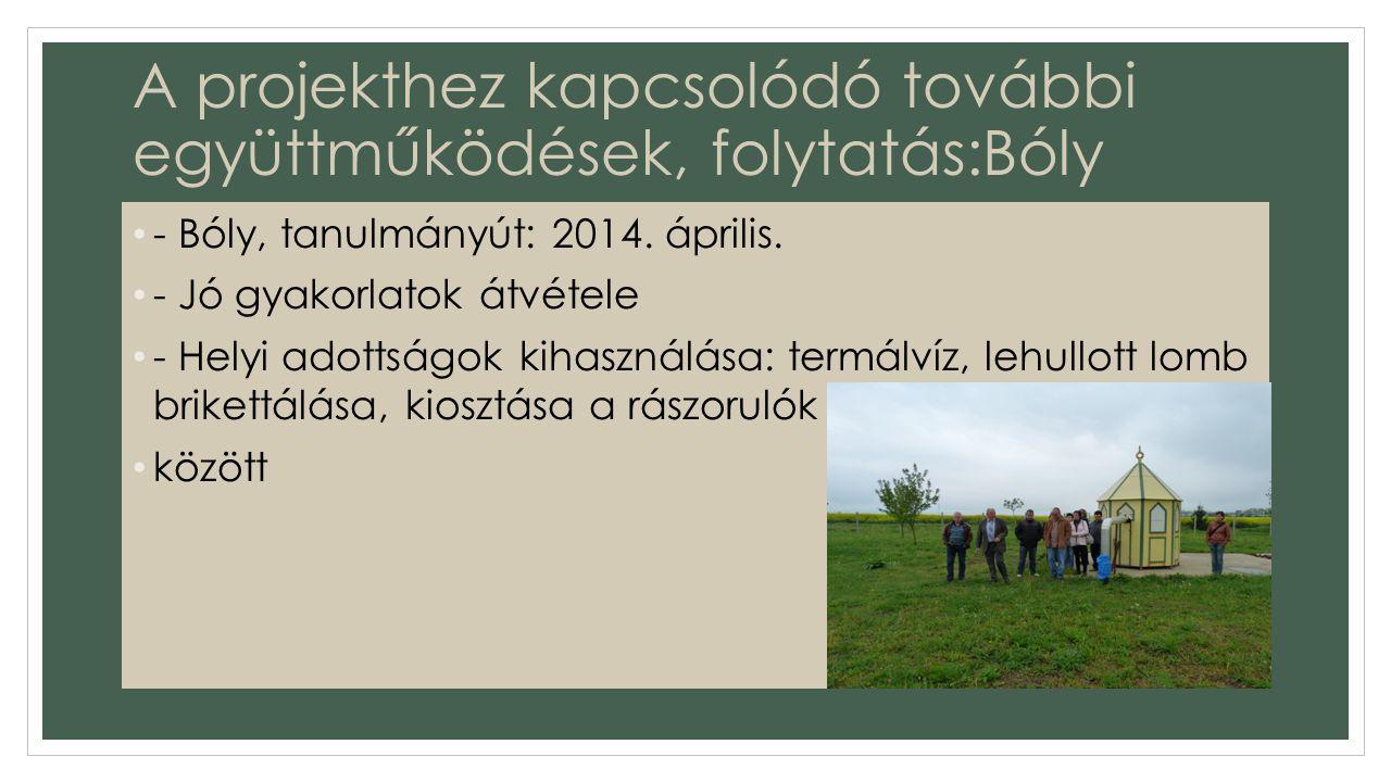 A projekthez kapcsolódó további együttműködések, folytatás:Bóly - Bóly, tanulmányút: 2014.