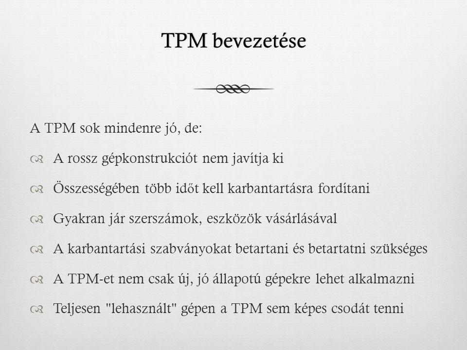 TPM bevezetéseTPM bevezetése A TPM sok mindenre jó, de:  A rossz gépkonstrukciót nem javítja ki  Összességében több id ő t kell karbantartásra fordítani  Gyakran jár szerszámok, eszközök vásárlásával  A karbantartási szabványokat betartani és betartatni szükséges  A TPM-et nem csak új, jó állapotú gépekre lehet alkalmazni  Teljesen lehasznált gépen a TPM sem képes csodát tenni