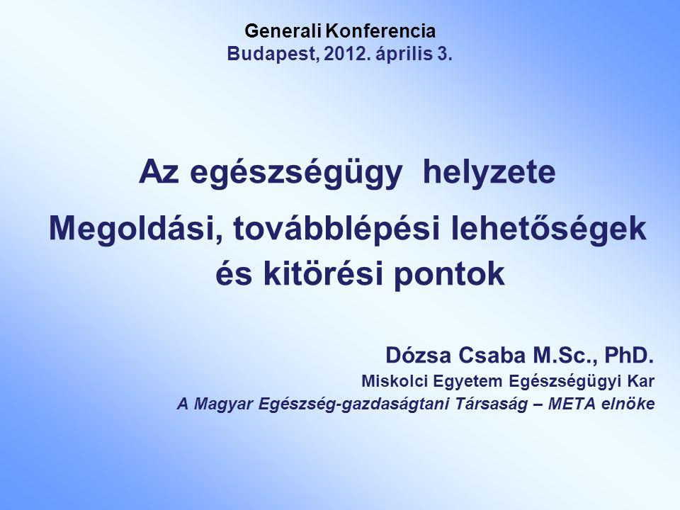 Generali Konferencia Budapest, 2012. április 3. Az egészségügy helyzete Megoldási, továbblépési lehetőségek és kitörési pontok Dózsa Csaba M.Sc., PhD.