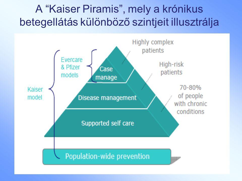 """A """"Kaiser Piramis"""", mely a krónikus betegellátás különböző szintjeit illusztrálja"""
