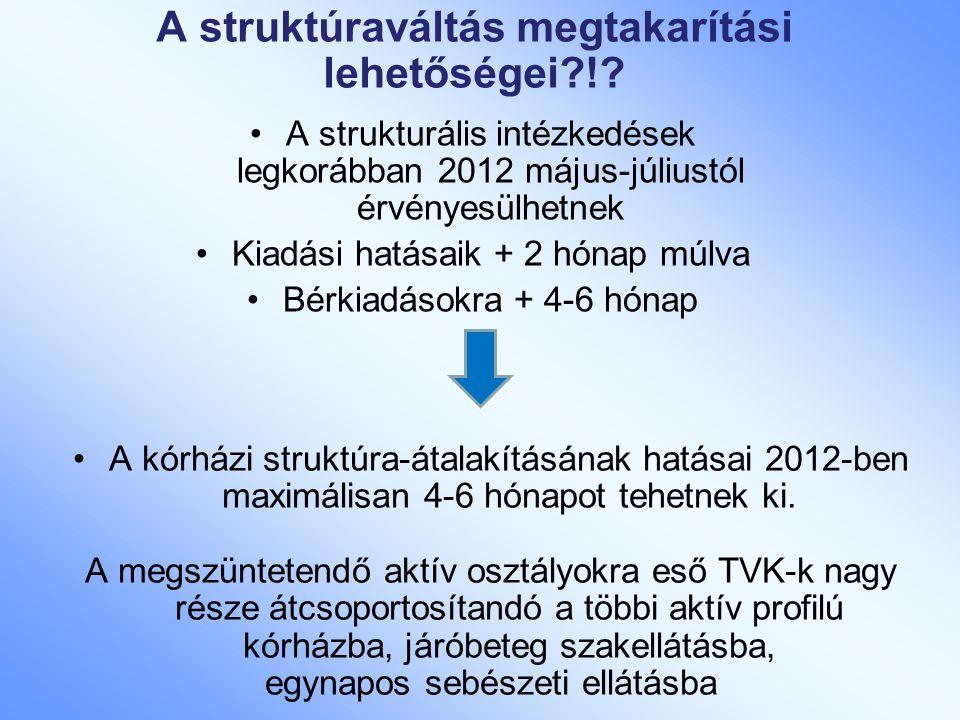 A struktúraváltás megtakarítási lehetőségei?!? A strukturális intézkedések legkorábban 2012 május-júliustól érvényesülhetnek Kiadási hatásaik + 2 hóna