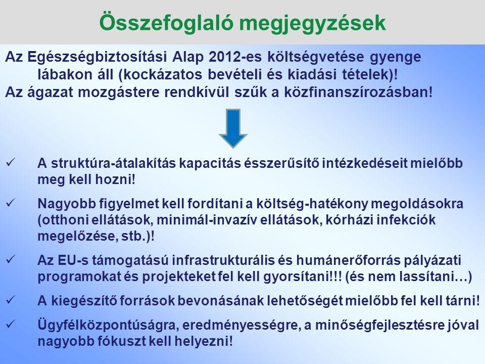 Összefoglaló megjegyzések Az Egészségbiztosítási Alap 2012-es költségvetése gyenge lábakon áll (kockázatos bevételi és kiadási tételek)! Az ágazat moz