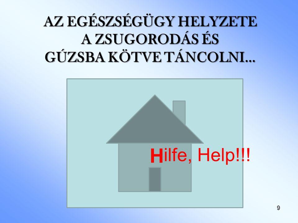 9 AZ EGÉSZSÉGÜGY HELYZETE A ZSUGORODÁS ÉS GÚZSBA KÖTVE TÁNCOLNI… H ilfe, Help!!!