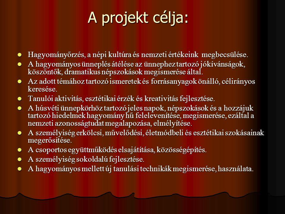 A projekt célja: Hagyományőrzés, a népi kultúra és nemzeti értékeink megbecsülése.