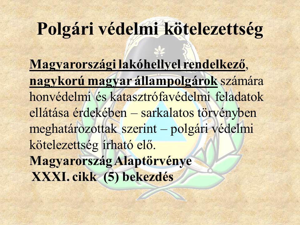 Polgári védelmi kötelezettség Magyarországi lakóhellyel rendelkező, nagykorú magyar állampolgárok számára honvédelmi és katasztrófavédelmi feladatok e