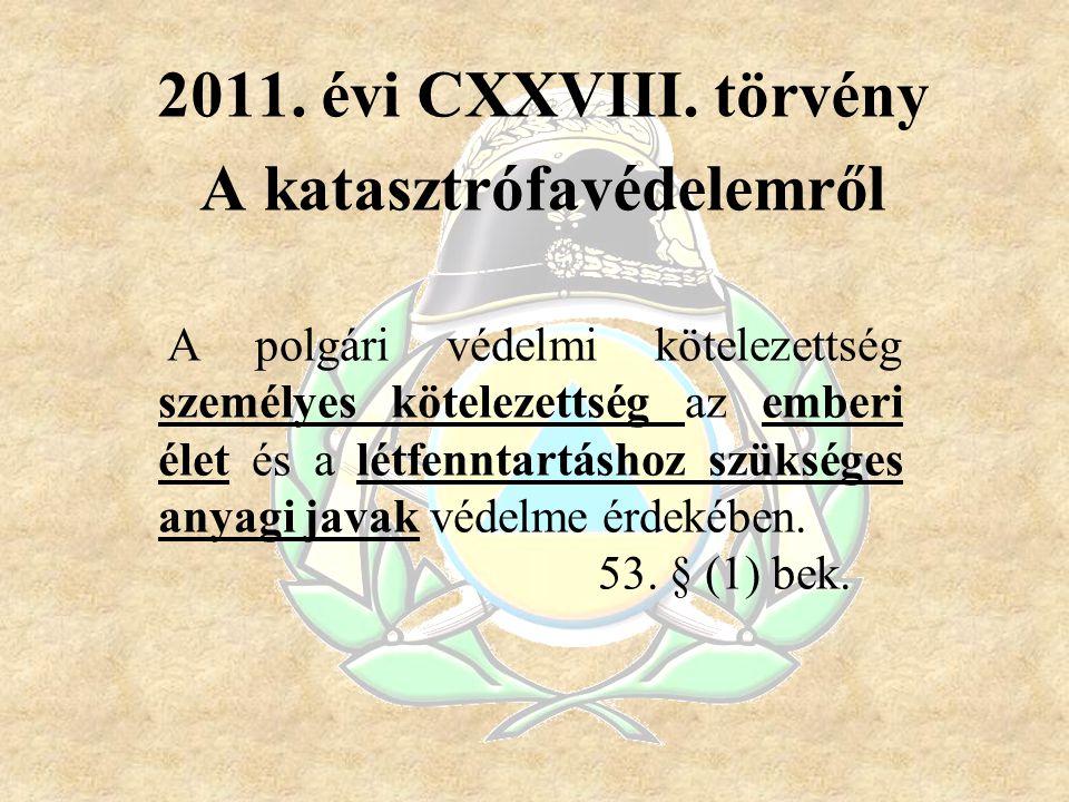 2011. évi CXXVIII. törvény A katasztrófavédelemről A polgári védelmi kötelezettség személyes kötelezettség az emberi élet és a létfenntartáshoz szüksé