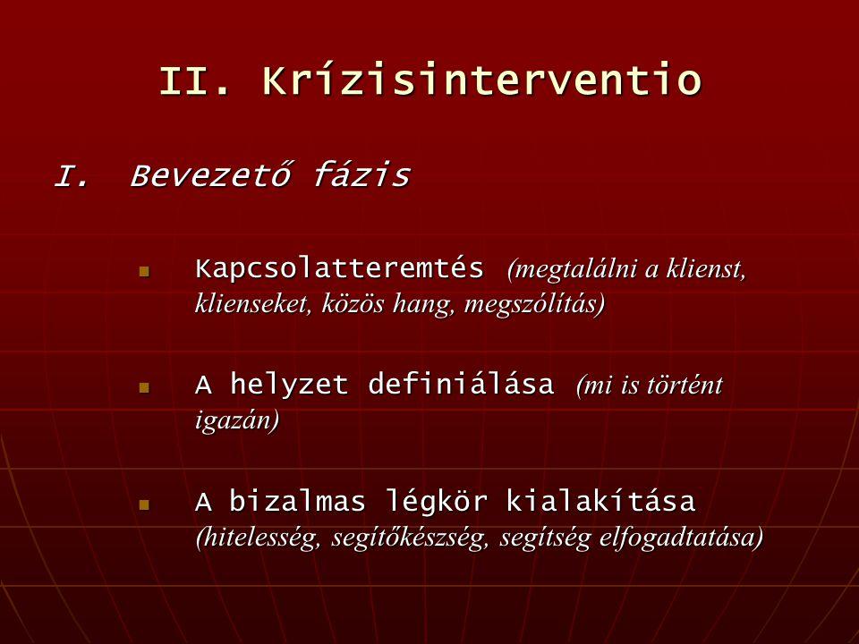 II. Krízisinterventio I.Bevezető fázis Kapcsolatteremtés (megtalálni a klienst, klienseket, közös hang, megszólítás) Kapcsolatteremtés (megtalálni a k