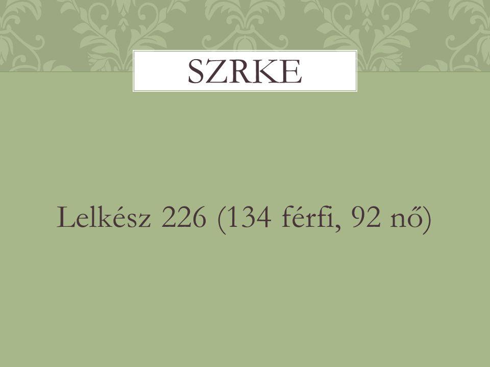 Lelkész 226 (134 férfi, 92 nő) SZRKE