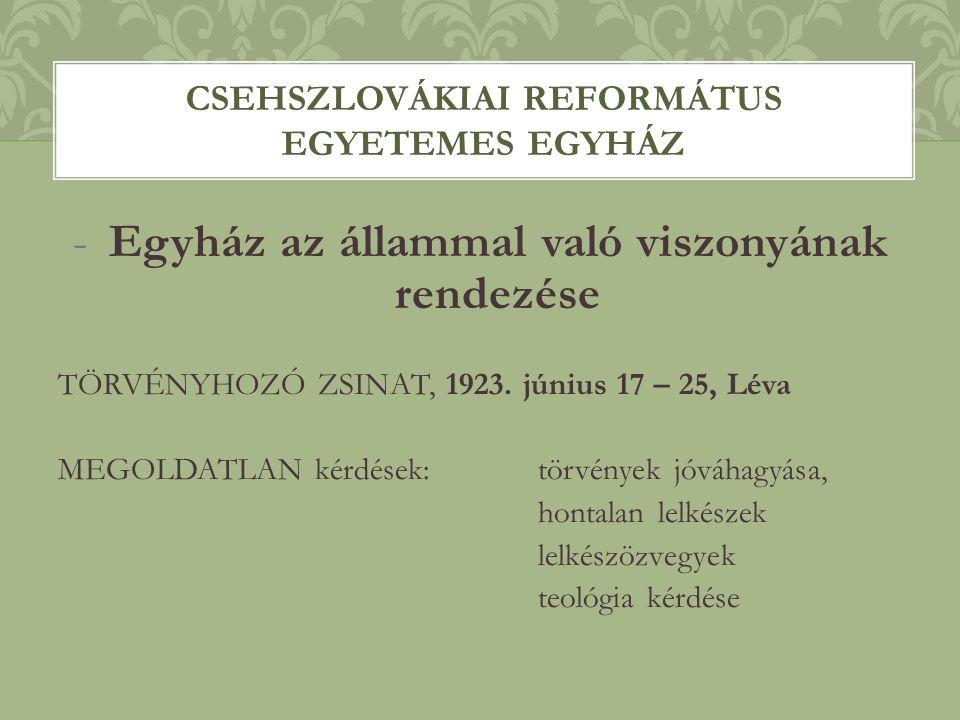 -Egyház az állammal való viszonyának rendezése TÖRVÉNYHOZÓ ZSINAT, 1923. június 17 – 25, Léva MEGOLDATLAN kérdések: törvények jóváhagyása, hontalan le