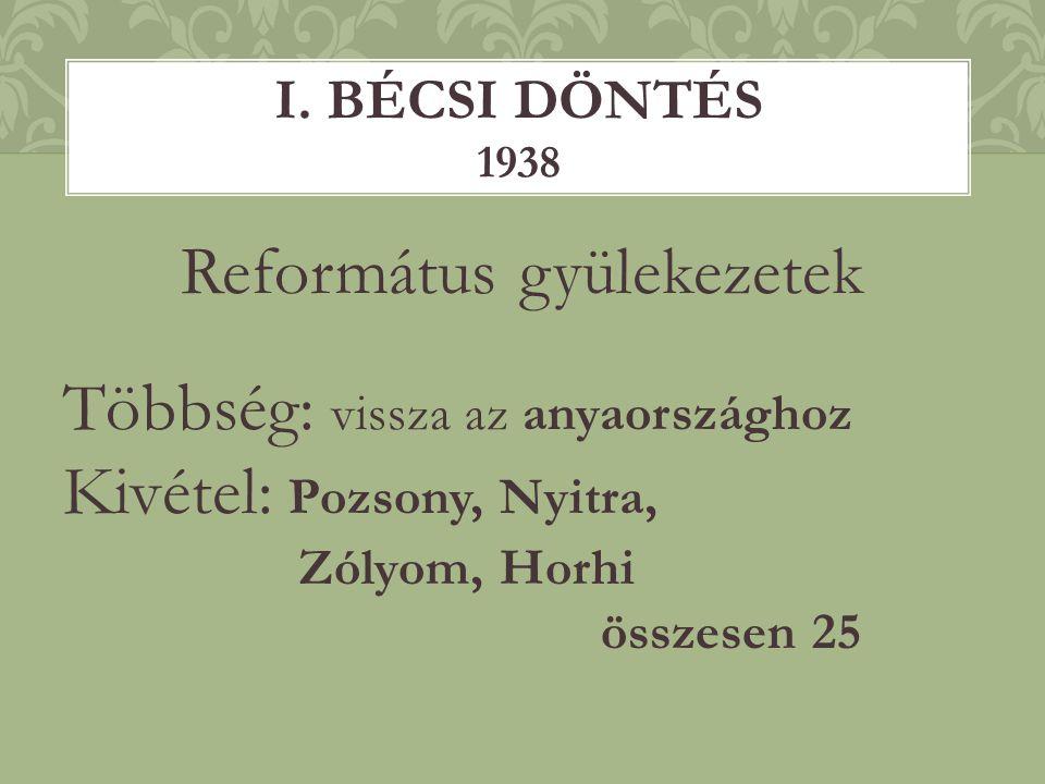 Református gyülekezetek Többség: vissza az anyaországhoz Kivétel: Pozsony, Nyitra, Zólyom, Horhi összesen 25 I. BÉCSI DÖNTÉS 1938
