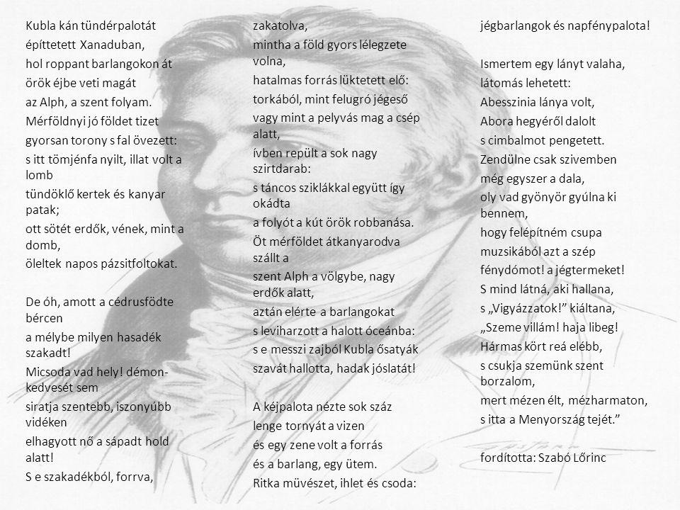 Források http://mek.niif.hu/00400/00455/00455.htm#d4118 http://www.poets.org/poetsorg/poet/samuel-taylor-coleridge http://hu.wikipedia.org/wiki/Samuel_Taylor_Coleridge