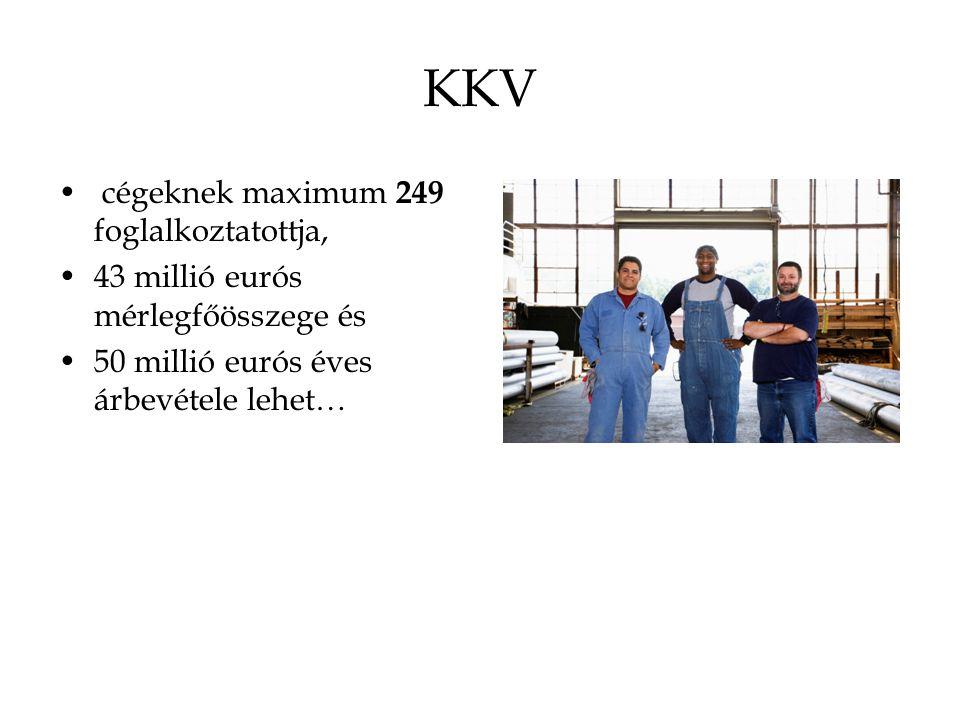 KKV cégeknek maximum 249 foglalkoztatottja, 43 millió eurós mérlegfőösszege és 50 millió eurós éves árbevétele lehet…