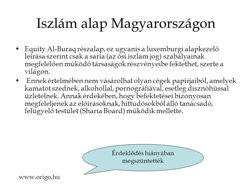 Iszlám alap Magyarországon Equity Al-Buraq részalap, ez ugyanis a luxemburgi alapkezelő leírása szerint csak a saría (az ősi iszlám jog) szabályainak megfelelően működő társaságok részvényeibe fektethet, szerte a világon.