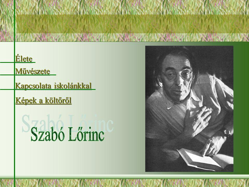 Szabó Lőrinc-költő, műfordító, Miskolcon, 1900.Március 31-én született és Budapesten 1957.