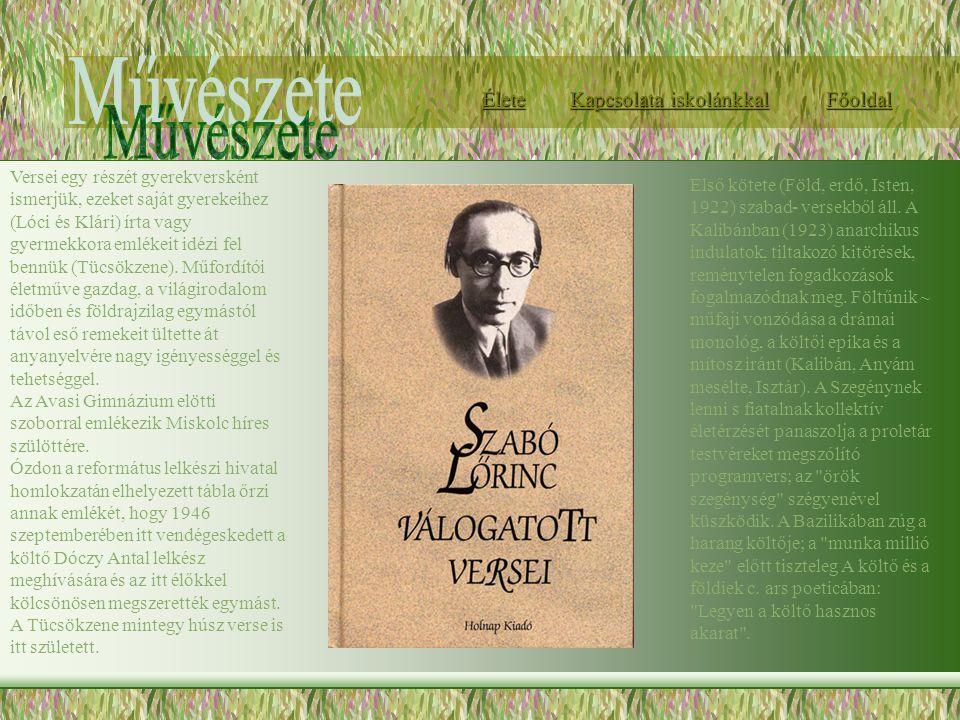 Első kötete (Föld, erdő, Isten, 1922) szabad- versekből áll. A Kalibánban (1923) anarchikus indulatok, tiltakozó kitörések, reménytelen fogadkozások f