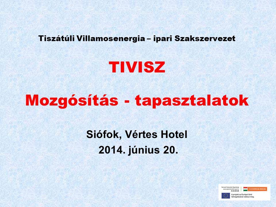 Tiszátúli Villamosenergia – ipari Szakszervezet TIVISZ Mozgósítás - tapasztalatok Siófok, Vértes Hotel 2014.