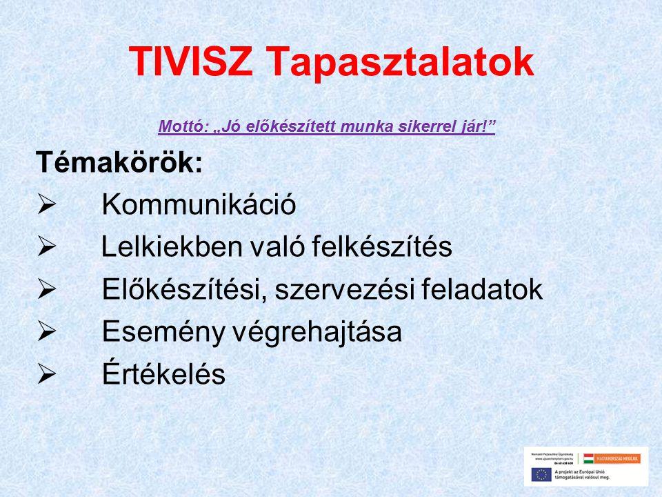 """TIVISZ Tapasztalatok Mottó: """"Jó előkészített munka sikerrel jár! Témakörök:  Kommunikáció  Lelkiekben való felkészítés  Előkészítési, szervezési feladatok  Esemény végrehajtása  Értékelés"""