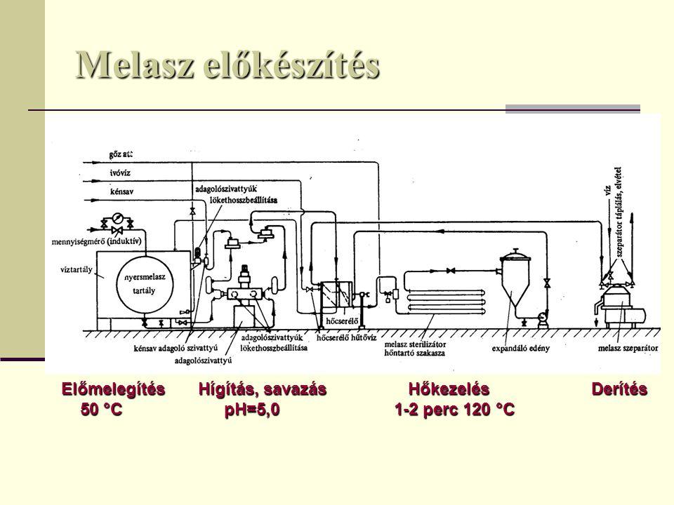 Melasz előkészítés Előmelegítés Hígítás, savazás HőkezelésDerítés 50 °C pH=5,0 1-2 perc 120 °C 50 °C pH=5,0 1-2 perc 120 °C