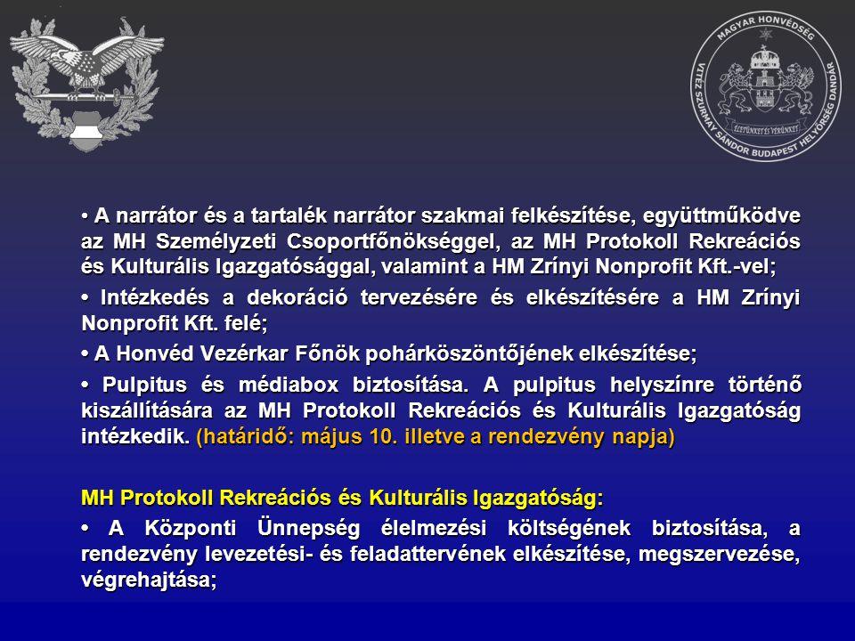 A narrátor és a tartalék narrátor szakmai felkészítése, együttműködve az MH Személyzeti Csoportfőnökséggel, az MH Protokoll Rekreációs és Kulturális I