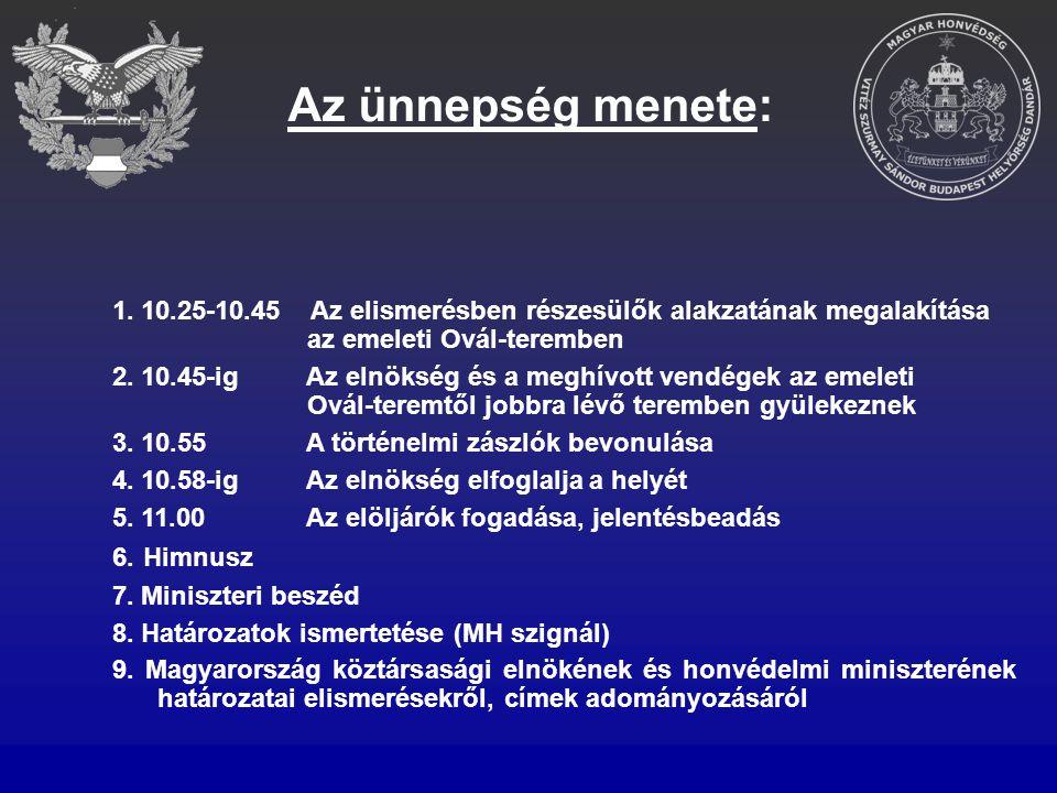 Az ünnepség menete: 1. 10.25-10.45 Az elismerésben részesülők alakzatának megalakítása az emeleti Ovál-teremben 2. 10.45-ig Az elnökség és a meghívott