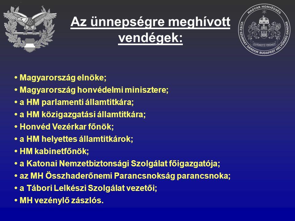 Almalé Multivitamin Őszibaracklé Kávé Büfé biztosítása az ünnepségre érkezők családtagjai részére; Rendőri biztosítás kérése a gépjárművek parkoltatásához; Közreműködés – együttműködve az MH Személyzeti Csoportfőnökség és a HM Miniszteri Kabinet Sajtóosztállyal ‒ a narrátor és a tartalék narrátor kiválasztásában; Az elnökség protokoll sorrendnek megfelelő felállítása (álltató táblák elkészítése); A meghívott elöljárók, vendégek fogadása és kísérése.