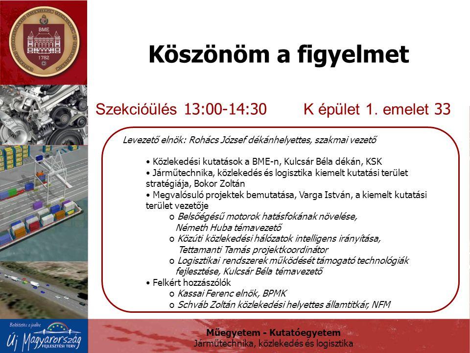Műegyetem - Kutatóegyetem Járműtechnika, közlekedés és logisztika Köszönöm a figyelmet Szekcióülés 13:00-14:30 K épület 1.