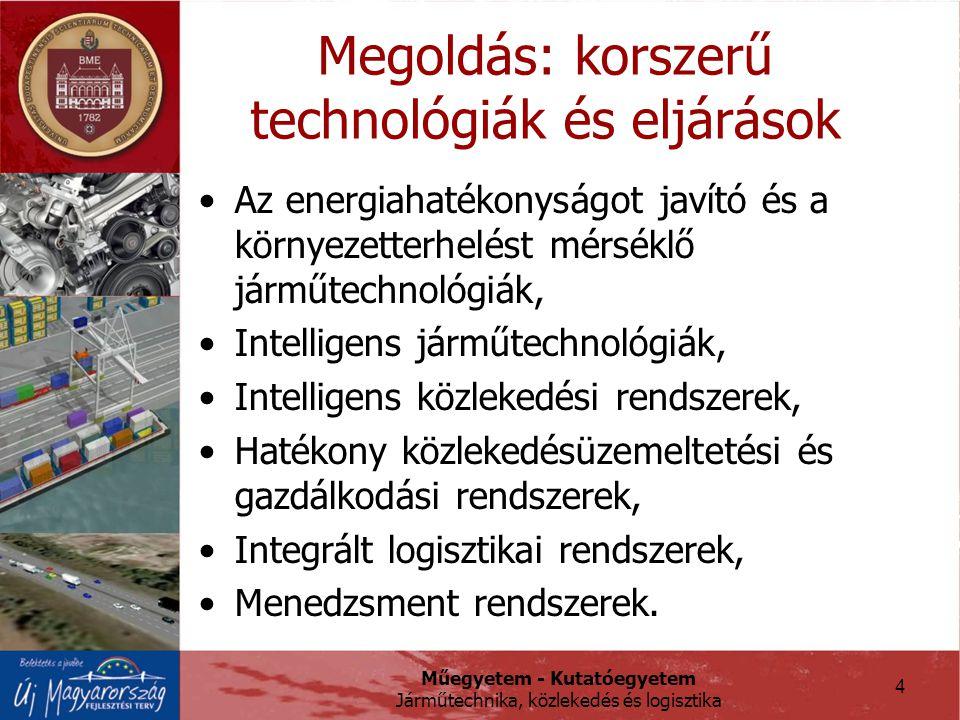 Műegyetem - Kutatóegyetem Járműtechnika, közlekedés és logisztika 4 Megoldás: korszerű technológiák és eljárások Az energiahatékonyságot javító és a környezetterhelést mérséklő járműtechnológiák, Intelligens járműtechnológiák, Intelligens közlekedési rendszerek, Hatékony közlekedésüzemeltetési és gazdálkodási rendszerek, Integrált logisztikai rendszerek, Menedzsment rendszerek.