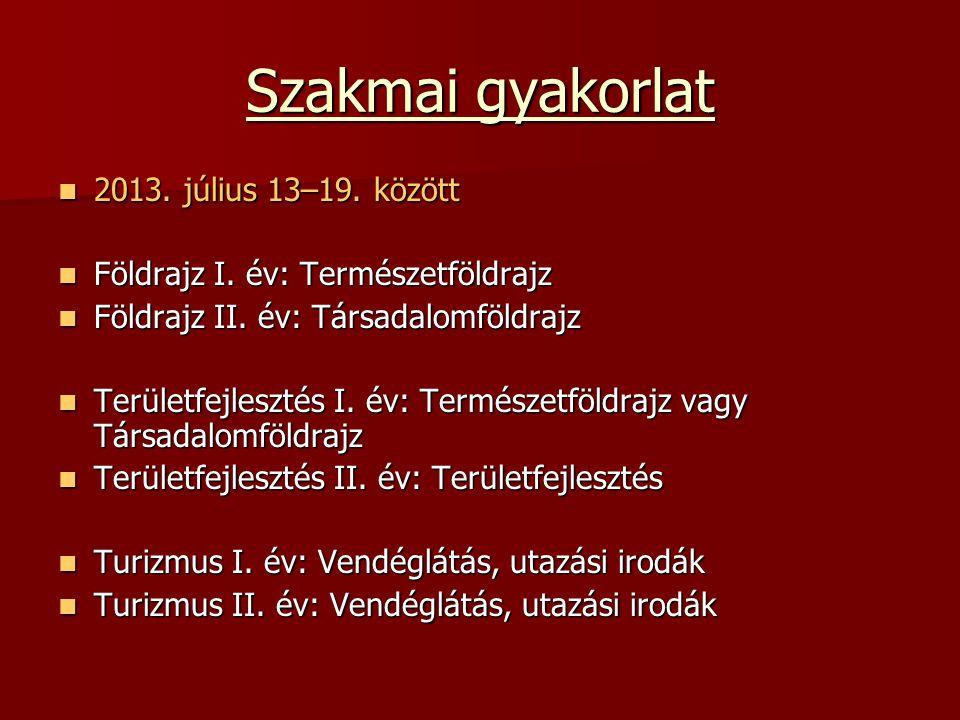 Szakmai gyakorlat 2013. július 13–19. között 2013. július 13–19. között Földrajz I. év: Természetföldrajz Földrajz I. év: Természetföldrajz Földrajz I