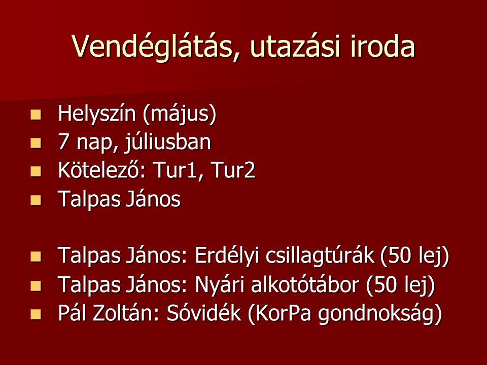 Vendéglátás, utazási iroda Helyszín (május) Helyszín (május) 7 nap, júliusban 7 nap, júliusban Kötelező: Tur1, Tur2 Kötelező: Tur1, Tur2 Talpas János