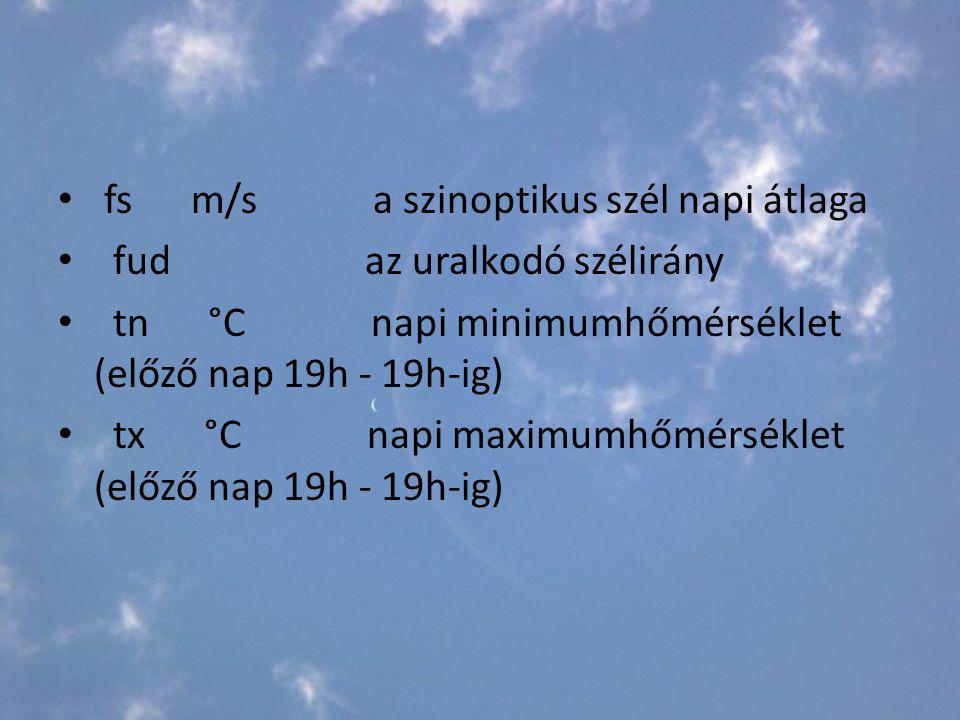 fs m/s a szinoptikus szél napi átlaga fud az uralkodó szélirány tn °C napi minimumhőmérséklet (előző nap 19h - 19h-ig) tx °C napi maximumhőmérséklet (előző nap 19h - 19h-ig)