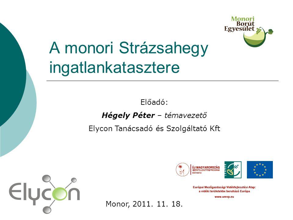 A monori Strázsahegy ingatlankatasztere Előadó: Hégely Péter – témavezető Elycon Tanácsadó és Szolgáltató Kft Monor, 2011. 11. 18.