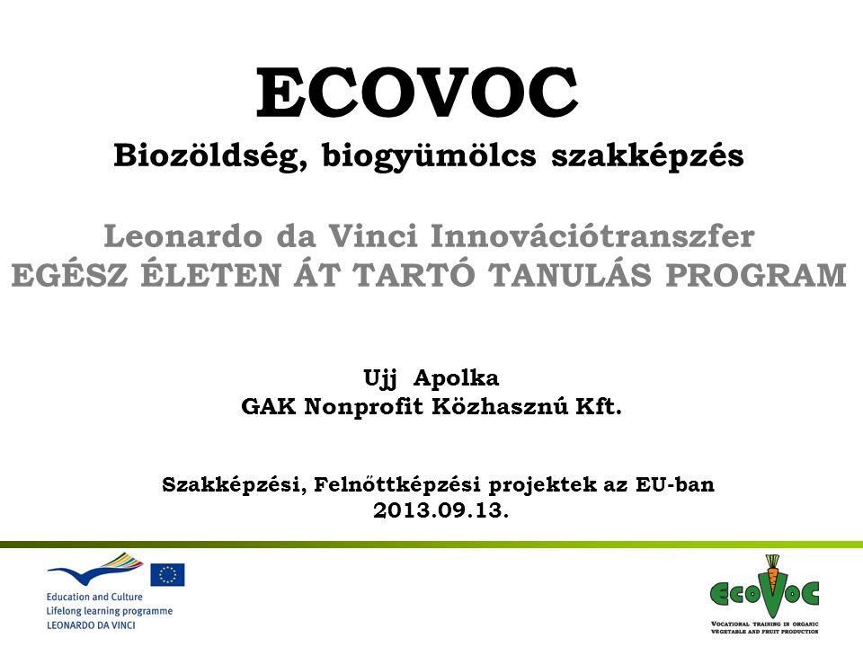 1st International Meeting 7-9 November 2011, Gödöllő Hungary ECOVOC Biozöldség, biogyümölcs szakképzés Leonardo da Vinci Innovációtranszfer EGÉSZ ÉLETEN ÁT TARTÓ TANULÁS PROGRAM Ujj Apolka GAK Nonprofit Közhasznú Kft.