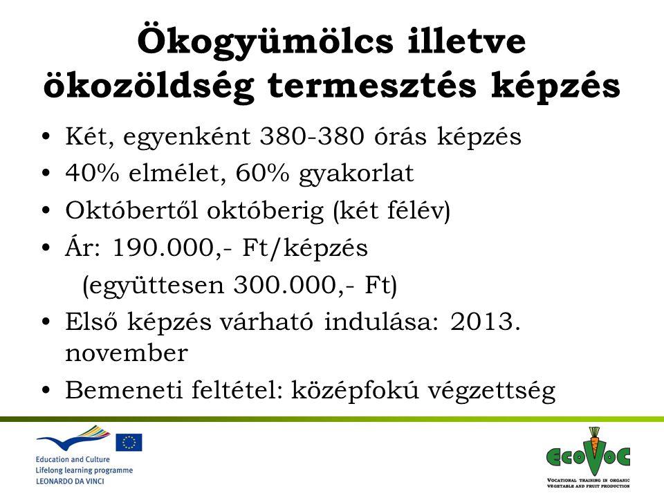 1st International Meeting 7-9 November 2011, Gödöllő Hungary Bio zöldségtermesztésBio gyümölcstermesztés Általános biotermesztési alapismeretek 150 óra Bio zöldségtermesztési speciális ismeretek 150 óra Bio gyümölcstermesztési speciális ismeretek 150 óra Üzemi gyakorlat 80 óra